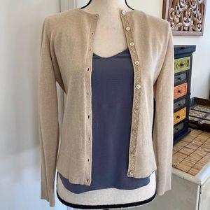 Ann Taylor 100% cashmere beige cardigan sweater XS